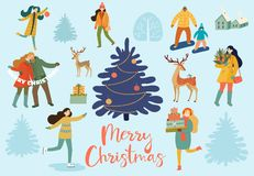 Collection of people, animals and winter decorative elements. Christmas and New Year`s poster and card. Vector retro style illustr. Ation stock illustration