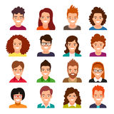 Collection of people avatars. Set of 20 portraits of men and women. Vector illustration on white background Stock Images