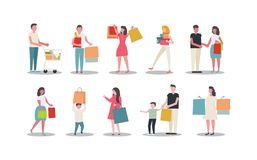 Collection of people carrying shopping bags royalty free illustration