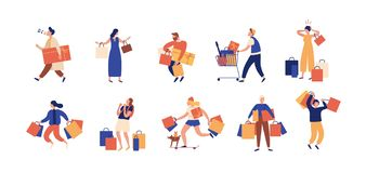 Collection of people carrying shopping bags with purchases. Men and women taking part in seasonal sale at store, shop. Mall. Cartoon characters isolated on vector illustration