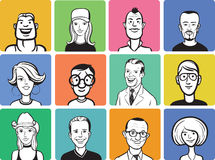 Collection of people cartoon faces Royalty Free Stock Images