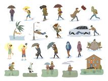 Collection of people coping with bad severe meteorological weather conditions disasters like extreme heat and cold, hurricane, str. Ong wind snow blizzard hail royalty free illustration