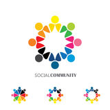 Collection of people icons in circle - vector concept engagement. Togetherness. this also represents social media community, leader & leadership, unity Stock Image