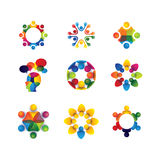 Collection of people icons in circle - vector concept unity, sol. Idarity. this also represents social media community, leader & leadership, togetherness Royalty Free Stock Photos
