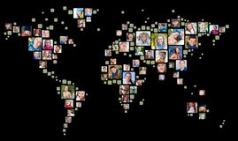 Collection of people portraits placed as world map shape. Global Business Concept.  stock illustration