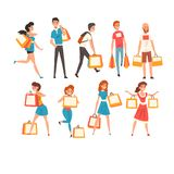Collection of people with shopping bags, men and women enjoying shopping and purchasing of goods or gifts vector royalty free illustration