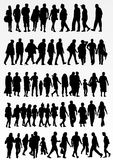 Collection of people silhouettes Stock Image