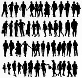 Collection of people silhouettes Royalty Free Stock Images