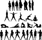 Collection of People Silhouettes Twenty Seven Figu royalty free illustration