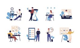 Collection of people successfully organizing their tasks and appointments. Set of scenes with efficient and effective vector illustration