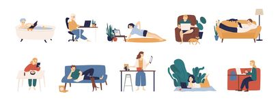 Collection of people surfing internet on their laptop and tablet computers. Set of men and women spending time online. Isolated on white background. Colorful vector illustration