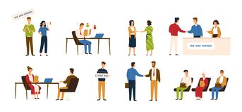 Collection of people taking part in recruitment or hiring process. Men and women sitting in line, talking during job. Interview, shaking hands. Colored vector stock illustration