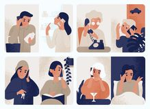 Collection of people talking on mobile phone. Bundle of men and women communicating through smartphone. Set of telephone vector illustration