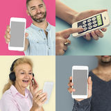 Collection of people using smart phone Royalty Free Stock Images