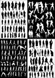 Collection of people vectors. Silhouettes - black&white Stock Photo