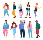 Collection of people wearing trendy clothes in 80s style.. Collection of people wearing trendy clothes in 80s style. Set of young fashionable men and women Royalty Free Stock Images