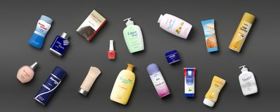 Collection of personal care productss - grey background. 3d illustration. Collection of personal care productss on grey background. 3d illustration Royalty Free Stock Images