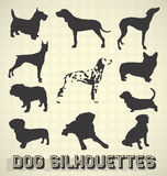 Pet Dog Silhouettes Stock Photos