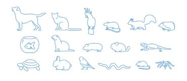 Collection of pet icons drawn with blue contour line on white background. Set of domestic animal linear symbols. Vector Stock Image