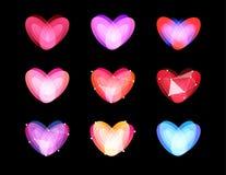Collection peu commune de coeurs de beauté Conception polygonale abstraite Symboles de jour de valentines, ilustration de vecteur Photographie stock libre de droits