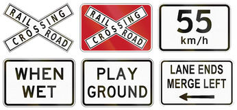 Collection of Philippine warning road signs Stock Photos