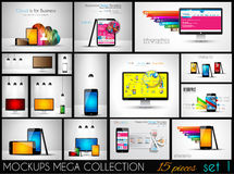 Collection of phone, pc and tablet mockups with infographics. Royalty Free Stock Image