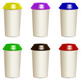 Collection of photorealistic take away hot drink. Collection of take away hot drink cups with different lids. Realistic objects templates, mock ups. Vector Royalty Free Stock Photography