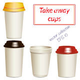 Collection of photorealistic take away hot drink. Collection of take away hot drink cups in different shapes and sizes. Realistic objects templates, mock ups Royalty Free Stock Images