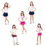 Collection of photos adorable happy little girl Royalty Free Stock Images