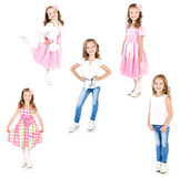 Collection of photos adorable little girl posing isolated Royalty Free Stock Photography