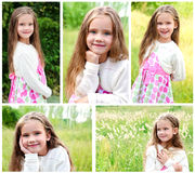 Collection of photos adorable smiling little girl Royalty Free Stock Images