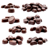 Collection of photos assortment of chocolate candies Royalty Free Stock Image
