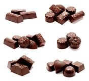 Collection of photos assortment of chocolate candies sweets isolated. On a white background royalty free stock photography