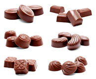 Collection of photos assortment of chocolate candies Royalty Free Stock Photo