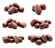 Collection of photos assortment of chocolate candies sweets Royalty Free Stock Photography