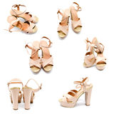 Collection of photos beige high heel women shoe Royalty Free Stock Photo