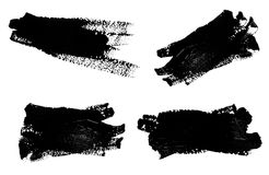 Collection of photos black strokes of the paint. Brush isolated on a white Royalty Free Stock Image