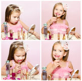 Collection of photos child cosmetics adorable little girl with l Royalty Free Stock Images