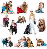 Collection photos of children and dog Stock Photos