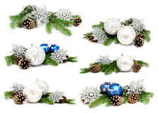 Collection of photos christmas decoration balls Stock Images