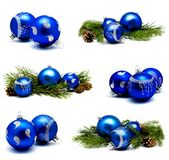 Collection of photos christmas decoration blue balls with fir co Stock Photography
