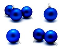 Collection of photos christmas decoration blue balls isolated o royalty free stock images