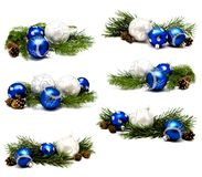 Collection of photos christmas decoration blue and silver balls Stock Image