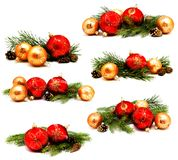 Collection of photos christmas decoration red and golden yellow Stock Photography
