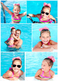 Collection of photos cute smiling little girl Stock Photo