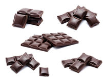 Collection of photos dark chocolate bars stack Stock Image