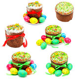 Collection of photos decorated handmade easter cake Royalty Free Stock Photography