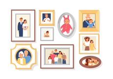 Collection of photos of family members or relatives and events in frames. Bundle of framed wall pictures or photographs royalty free illustration