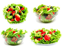 Collection of photos fresh vegetable salad isolated. On a white background Stock Photos