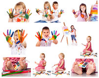 Collection of photos of kids painting with colors. Over white background stock images